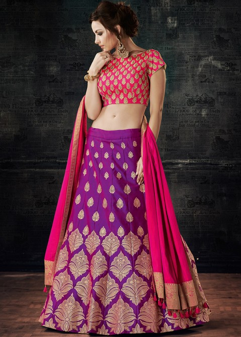 6a2c7476c4 Buy Purple Silk Party Wear Lehenga Choli Online with Dupatta in USA