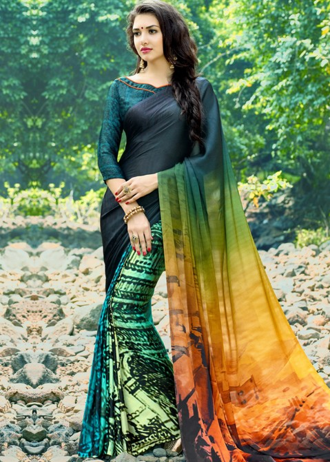 73f26d1db9b78 Buy Multicolor Printed Crepe Indian Georgette Sarees Online with Blouse