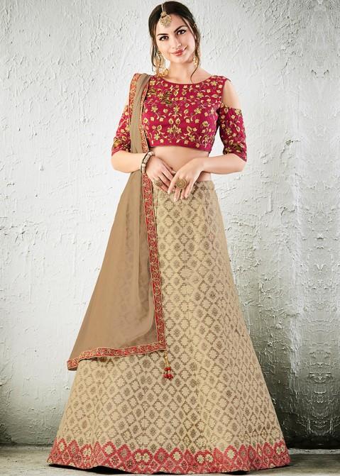 e1affe868b2058 Party Wear Lehenga: Buy Beige Jacquard Silk Lehenga Choli Online with  Dupatta