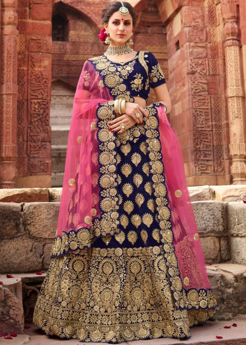 0c0300a4b3 Buy Blue Velvet Indian Bridal Lehenga Choli Online with Dupatta in USA