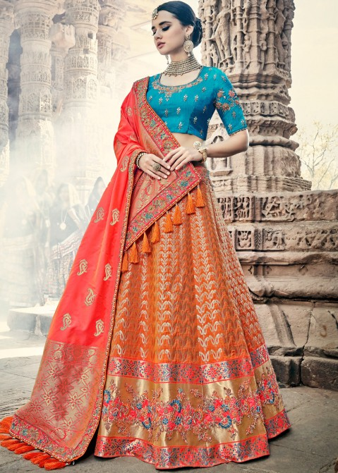 043c02f4d71313 Orange Banarasi Silk Indian Bridal Lehenga Choli Online Shopping with  Dupatta