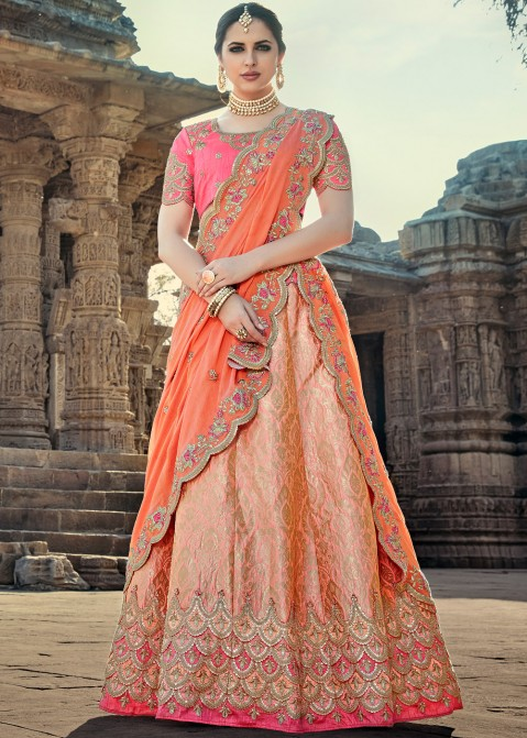 71ceda24c5 Lehenga Choli: Buy Light Pink Banarasi Silk Bridal Lehenga Choli Online