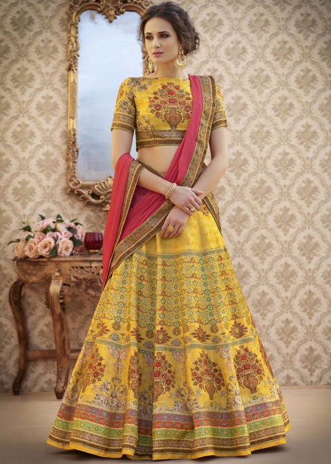 da2b36bb14 Buy Yellow Digital Printed Party Wear Lehenga Choli Online with Dupatta