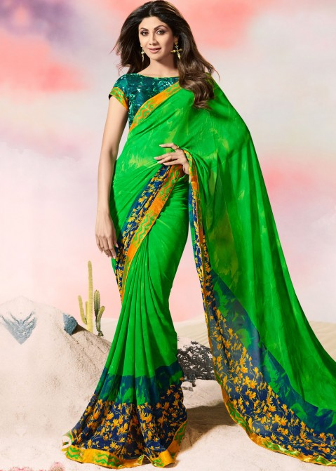 98bbb67dd94 Shilpa Shetty Green Printed Georgette Saree with Blouse 1667SR16