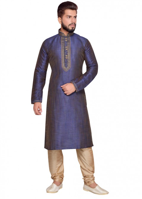00ad117b80 Navy Blue Art Silk Kurta Churidar Readymade Set 180MW10