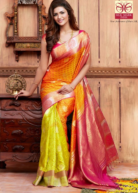 843c044bc4 Yellow Pure Kanchipuram Handloom Silk Saree with Blouse Saree 1673SR01