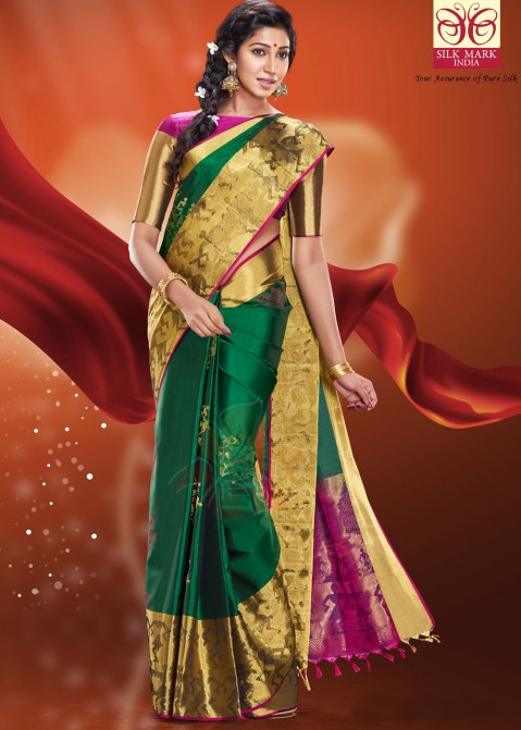 22b2565e2af12 Green Pure Kanchipuram Handloom Silk Saree with Blouse Saree 1673SR18