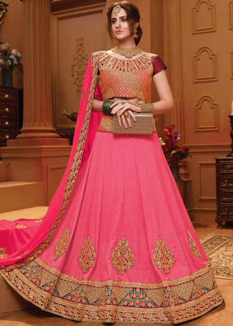 62a3232d6b Pink Art Silk Lehenga Choli With Dupatta 1677LG03