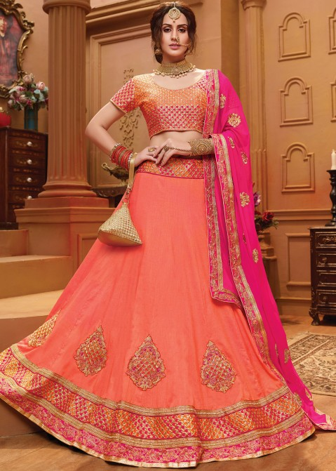 ebc04b6fcb Buy Light Orange Art Silk Party Wear Lehenga Choli Online With Dupatta
