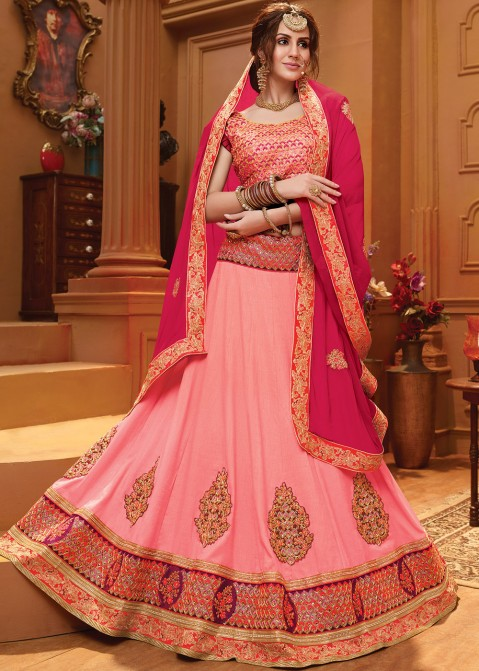 17344a5586 Light Pink Art Silk Lehenga Choli With Dupatta 1677LG08