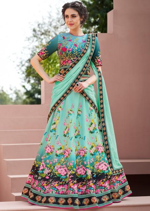 8b3ffd0056 Floral Lehenga: Buy Floral Printed Satin Silk Lehenga Choli Online in USA