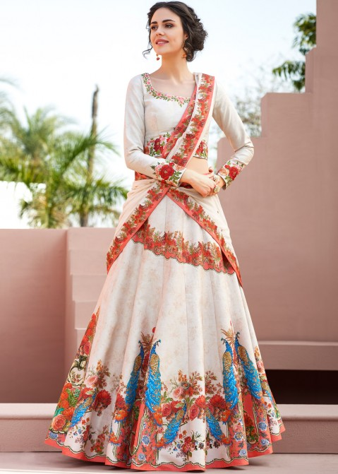 f6286f1ec3 Buy Cream Digital Printed Satin Silk Party Wear Lehenga Choli Online