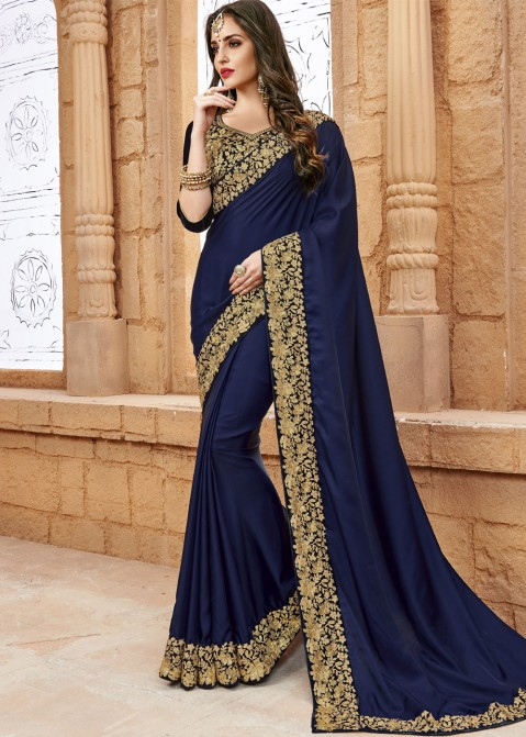 6d423d03d2167 Navy Blue Crepe Saree with Blouse Most Loved Styles 1694SR09