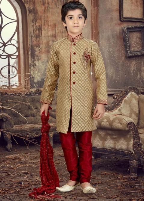 2e30edd125 Golden Jacquard Kids Sherwani Set 170KW03