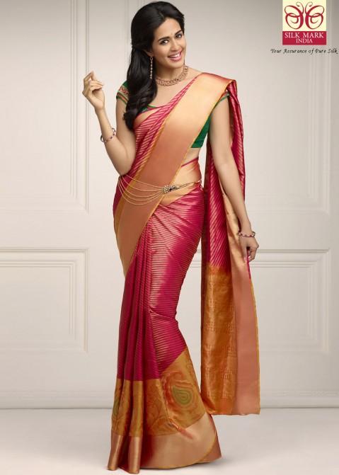73e60d745c Buy Pink Pure Kanchipuram Handloom Silk Sarees Online in USA