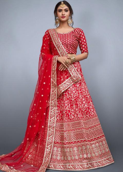 b41bfb0d5b Buy Red Heavily Embroidered Indian Bridal Lehenga Choli Online USA