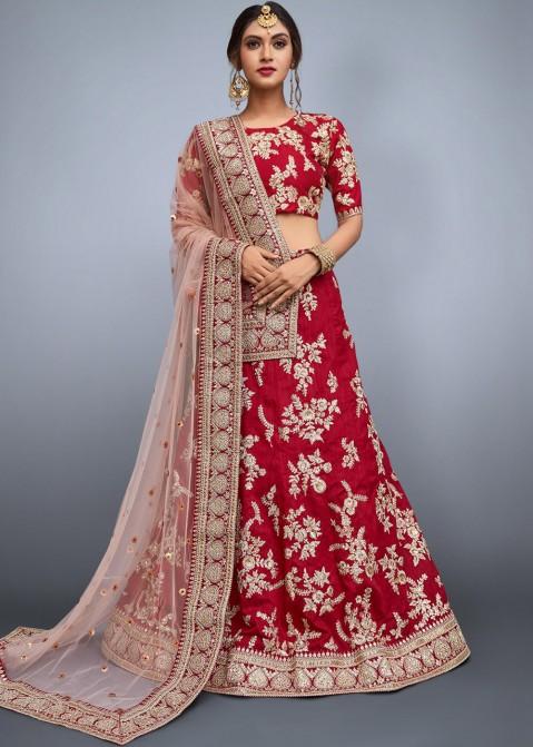 32110a1505 Reception Lehenga: Buy Red Embroidered Indian Bridal Lehenga Choli Online