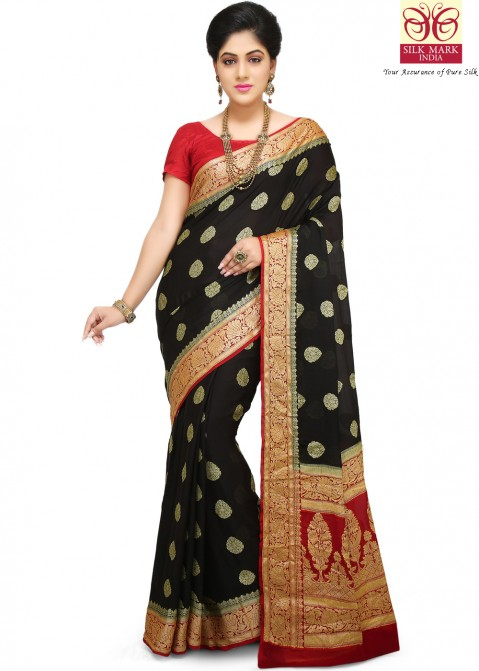 50c264d151fb78 Black Pure Banarasi Silk Saree with Blouse 1718SR24