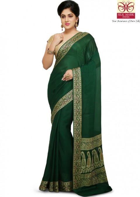 791cc7a1a5 Green Pure Banarasi Silk Saree with Blouse 1718SR47