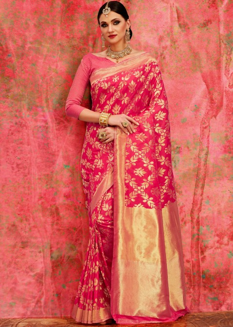 bf05e0aed44894 Pink Banarasi Silk Saree With Blouse Valentine Edit 1743sr03 ...
