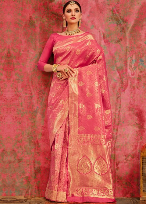 86725e0484 Buy Pink Banarasi Sarees Online in Pure Silk with Blouse in USA