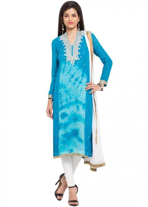 99858b35e0 Readymade Batik Print Blue Georgette Salwar Suit 1928SL03