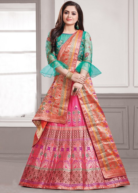 f7d8fd6df Pink Art Banarasi Silk Lehenga Choli With Dupatta 1749LG01