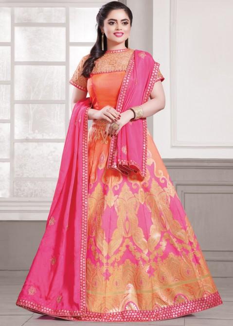 f281e49805 Orange & Pink Art Banarasi Silk Lehenga Choli 1749LG12