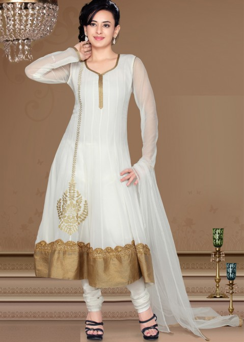 0c5e4415e9 Readymade Off White Georgette Anarkali Suit 1589SL40