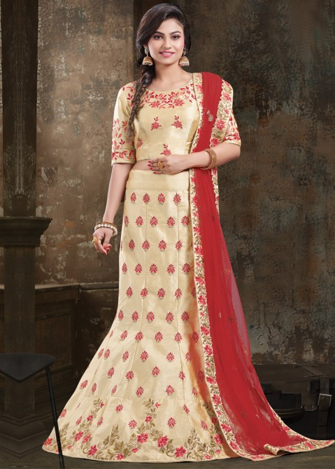 fd3ad5fe87 Golden Art Silk Embroidered Lehenga Choli 1764LG19