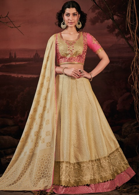 ecbc63cad7 Golden Embroidered Art Silk Lehenga Choli 1768LG03