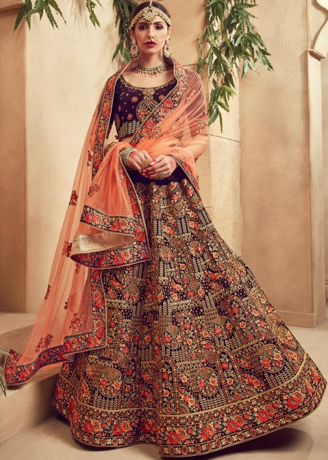 708b6ee604 Buy Dark Purple Indian Bridal Lehenga Online with Choli in USA