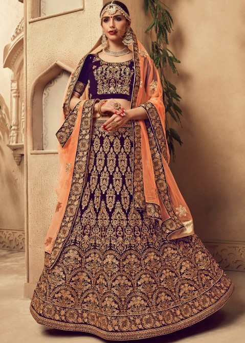 e48d170a1a Purple Heavy Embroidered Bridal Lehenga 1776LG06