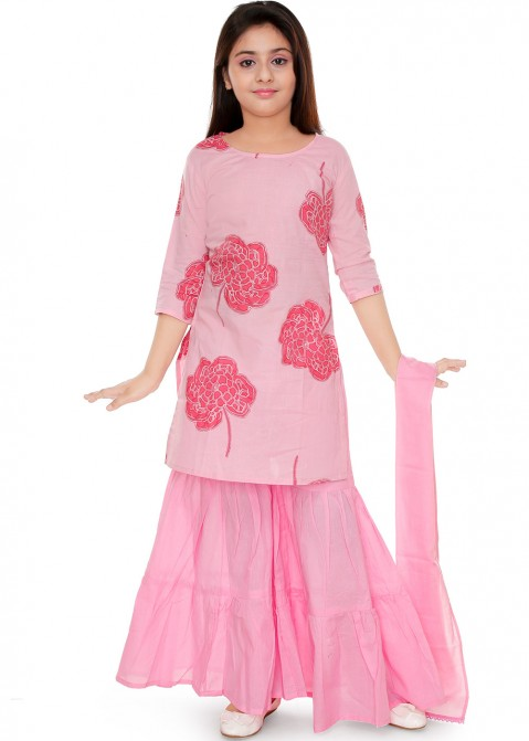 60249b114aacb Kids Ethnic Wear: Buy Pink Printed Kids Sharara Salwar Suit Online