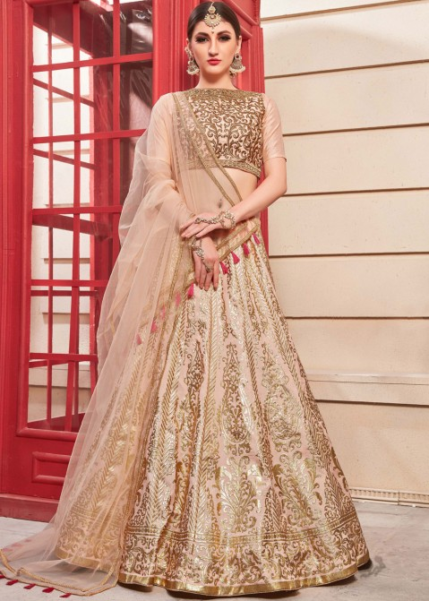 e4ccd523ae Pastel Pink Embroidered Indian Lehenga Online Shopping in USA