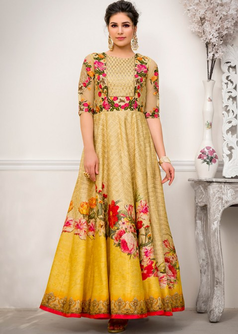 f6dbfaafcf76 Indian Gowns: Buy Yellow Digital Printed Art Silk Indo Western Gown Online