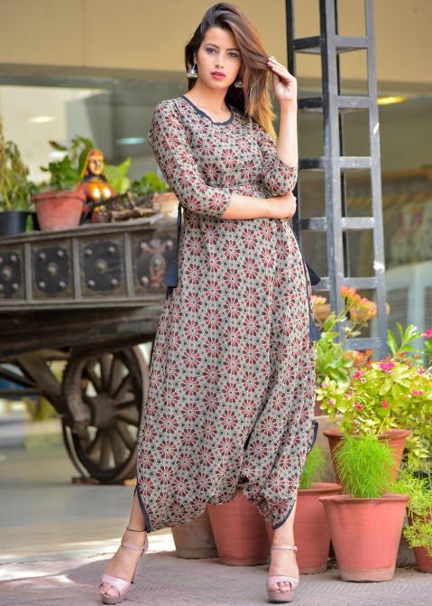 897af334ed4c Indo Wetern Dress for Girl  Buy Grey Printed Cotton Readymade Jumpsuit  Online