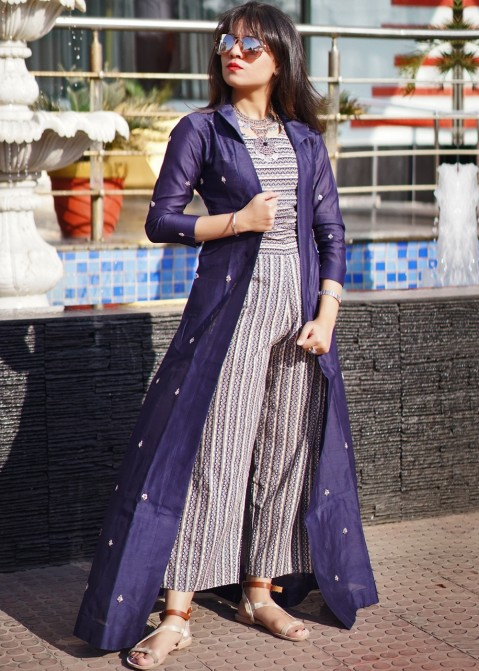 bb197bdf3082 Indo Western Dresses  Buy Multicolour Printed Jumpsuit With Jacket
