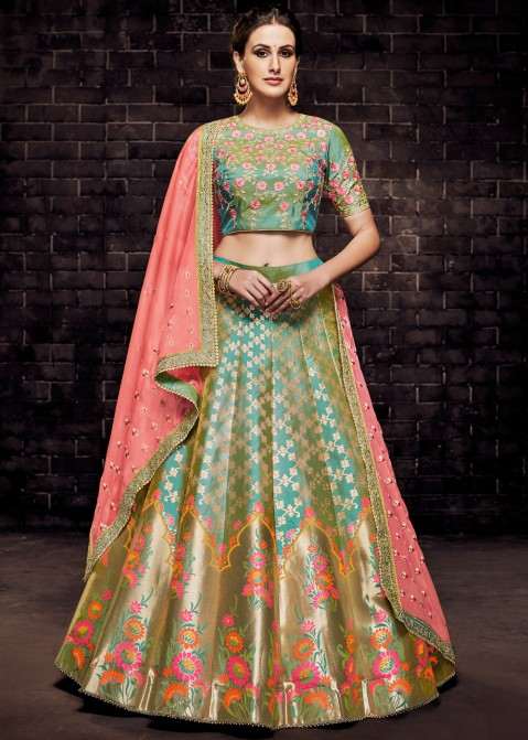 cc61cd37e6 Turquoise Brocade Reception Lehenga Choli Online Shopping With Dupatta
