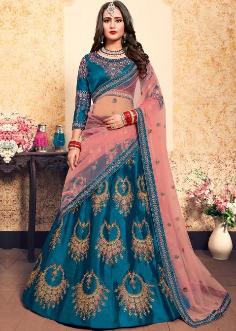 8dc31d23d7 Sky Blue Embroidered Satin Lehenga Choli 1804LG20