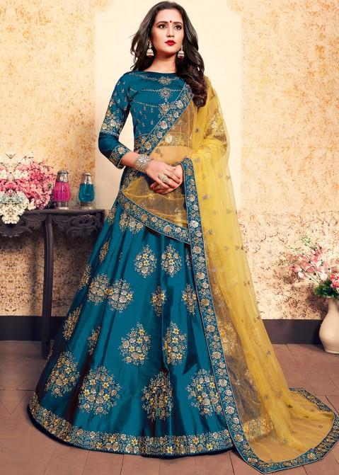73cec77bd4 Teal Blue Satin Embroidered Lehenga Choli 1804LG30