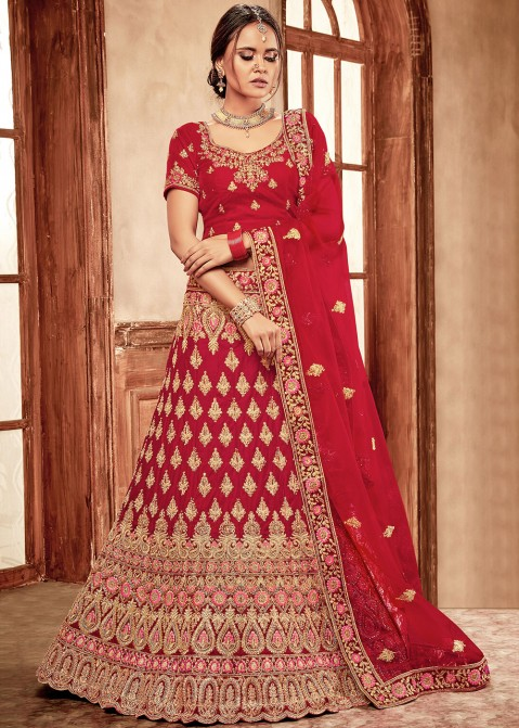 862c3c8d63 Red Embroidered Velvet Bridal Lehenga Choli 1807LG02