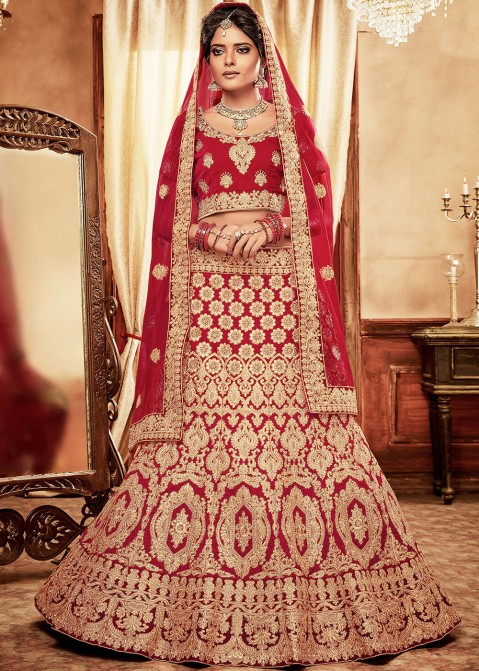 a598cfcdbd Red Heavy Embroidered Velvet Bridal Lehenga Choli 1807LG06