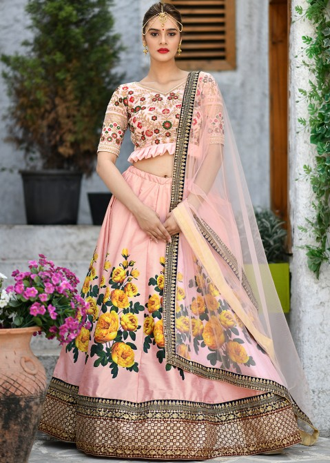 c50c4d2f9c12b Buy Pink Embroidered Silk Indian Floral Lehenga Choli Online in USA