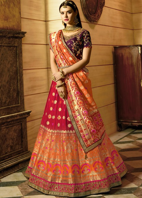 8a069aaa30845d Red Orange Shaded Woven Indian Lehenga Choli Online Shopping in USA