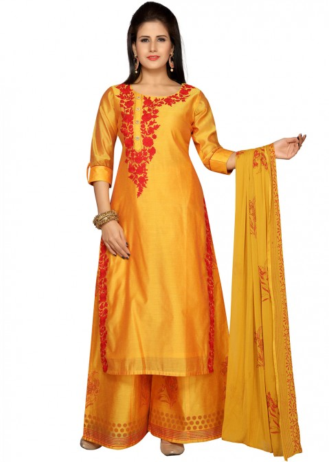 ac18765a03 Yellow Chanderi Straight Cut Palazzo Suit 2240SL04