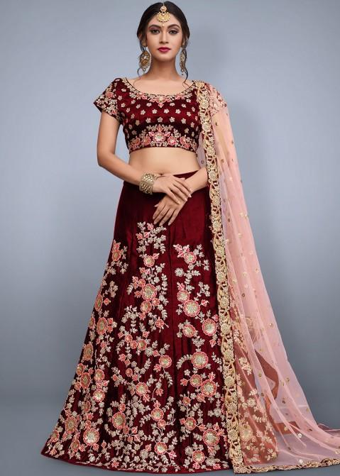 b8f08cab47c6 Buy Maroon Embroidered Velvet Designer Bridal Lengha Choli Online in USA