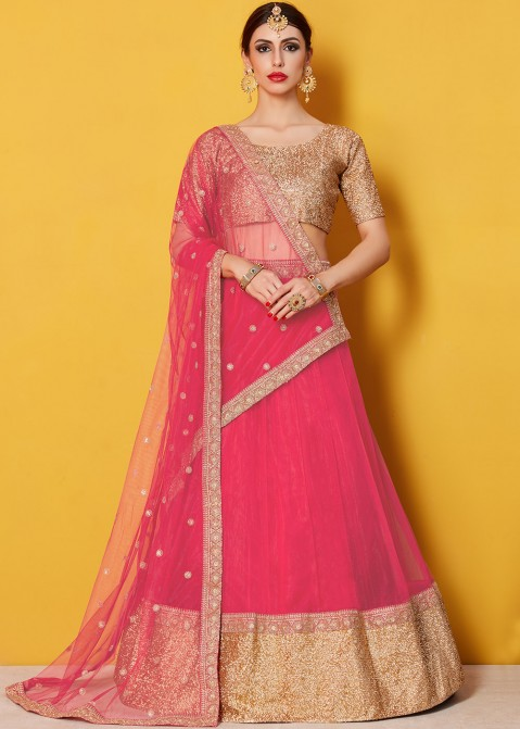 4c494c65e1 Buy Coral Pink Embroidered Net Lehenga Online for Women in USA