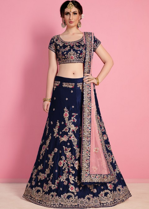 f1a840fe2e Buy Blue Embroidered Velvet Indian Bridal Lengha Choli Online in USA