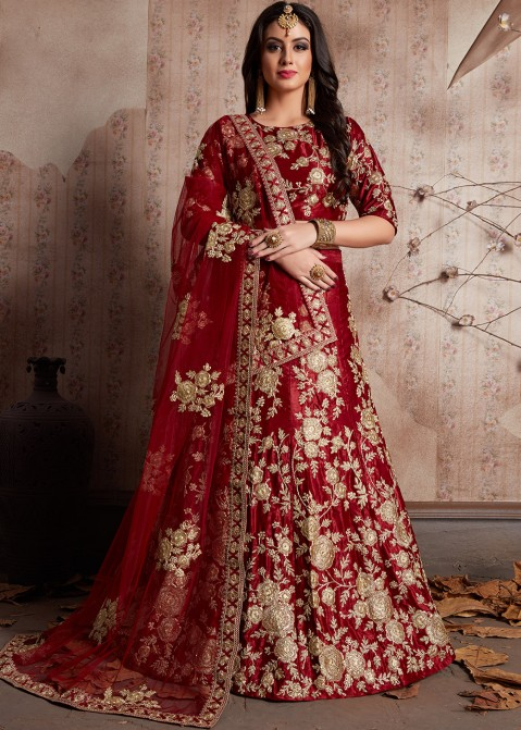 1207af2d4a924 Maroon Embroidered Velvet Designer Bridal Lengha Choli Online Shopping